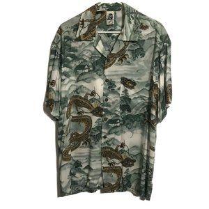 Kennington LTD Mens Green Dragon Asian Shirt Large